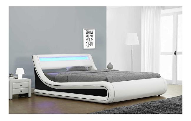 Manželská postel 160 cm - Tempo Kondela - Manila (s roštem, úl. prostorem a LED)