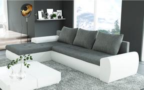 Rohová sedací souprava - Tempo Kondela - Magna (šedá + bílá) (L)