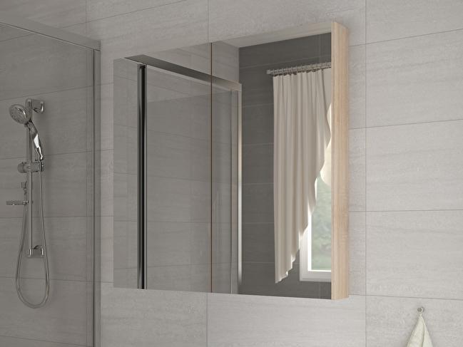 Koupelnová skříňka na stěnu - WIP - Della 100 dub sonoma světlý + zrcadlo