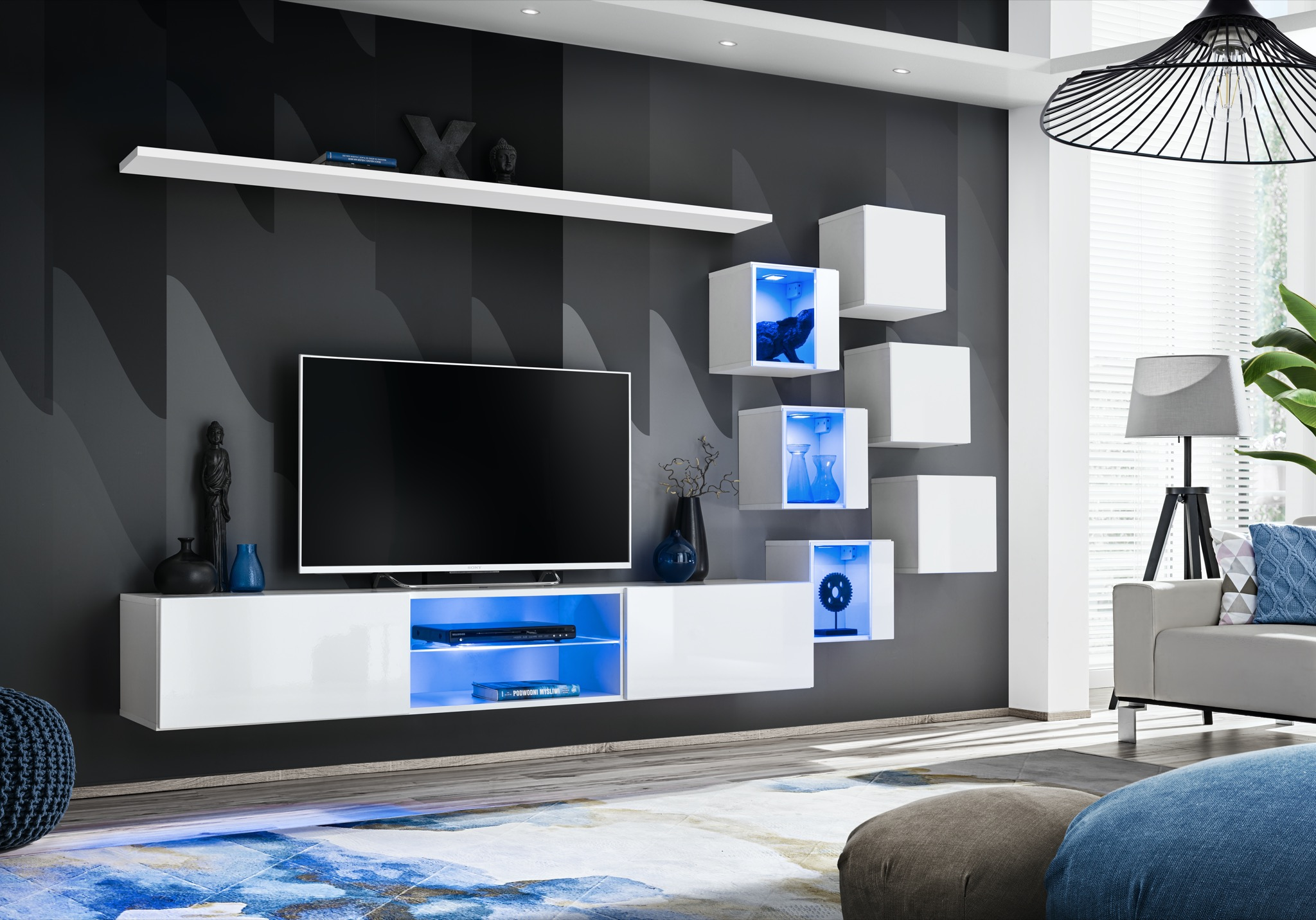 Obývací stěna - ASM - Shelly 26 WW SW 21 (bílá matná + bílá lesklá)