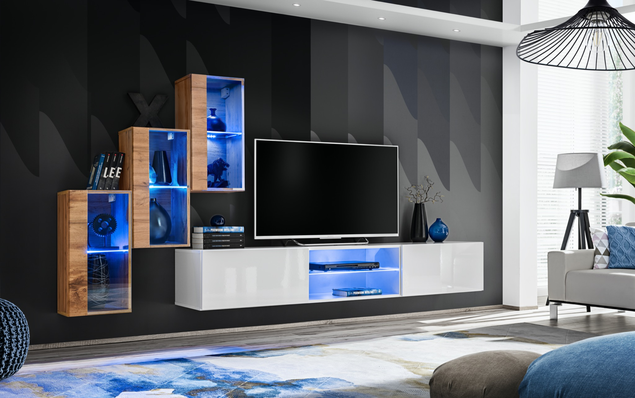 Obývací stěna - ASM - Shelly WTW SW 22 (dub wotan + bílá matná + bílá lesklá)