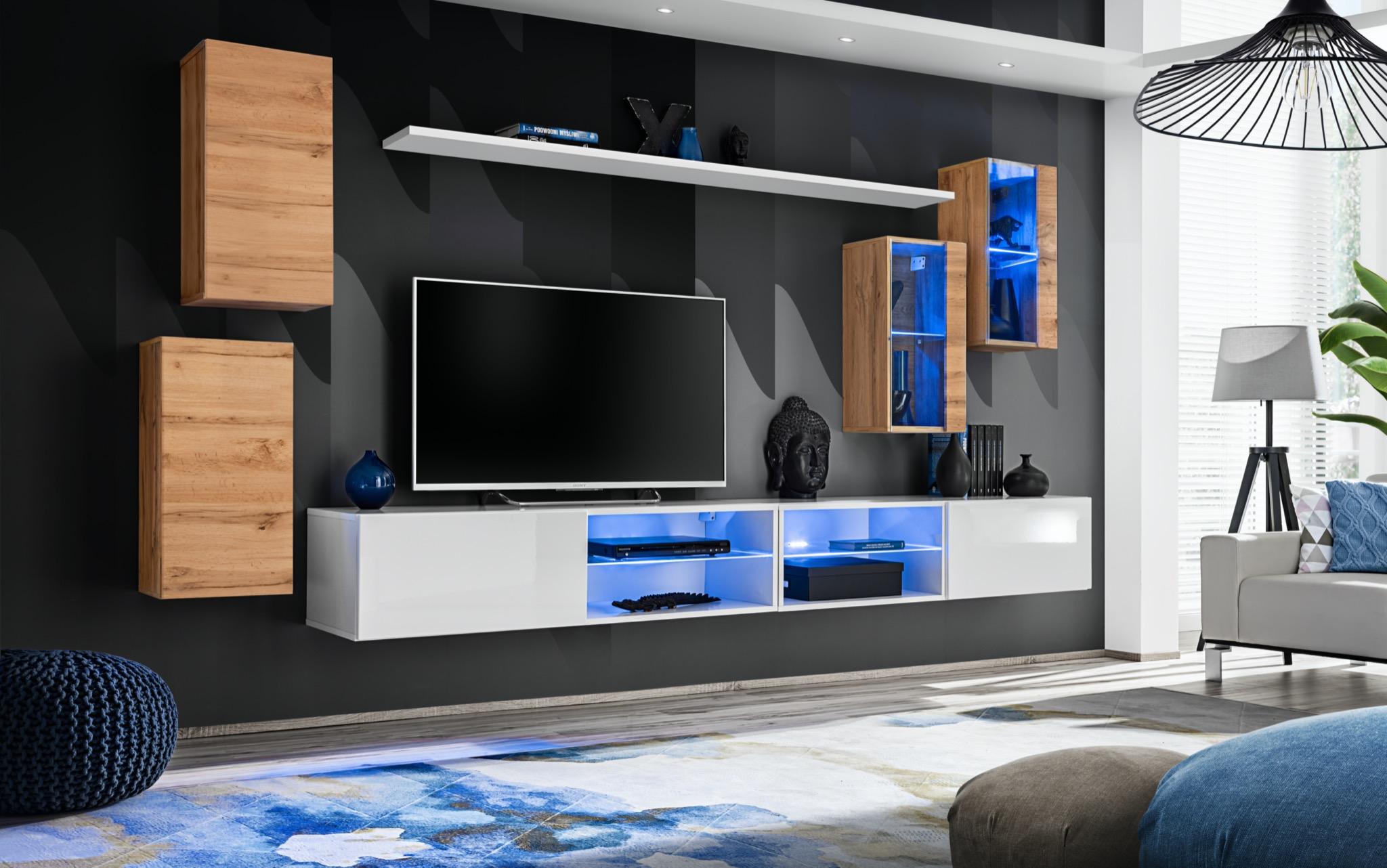 Obývací stěna - ASM - Shelly WTW SW 25 (dub wotan + bílá matná + bílá lesklá)