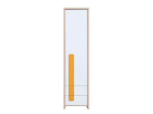 Policová skříň - BRW - Colorado - REG1D2S (dub světlý belluno + bílá + pomerančová)