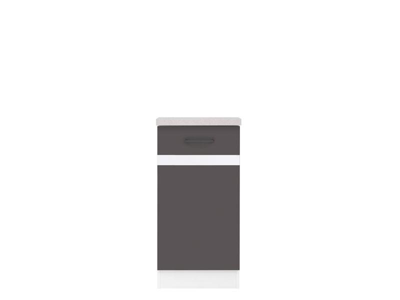 Spodní kuchyňská skříňka - BRW - Junona line - D1D/40/82/L (Šedý wolfrám + Lesk bílý)