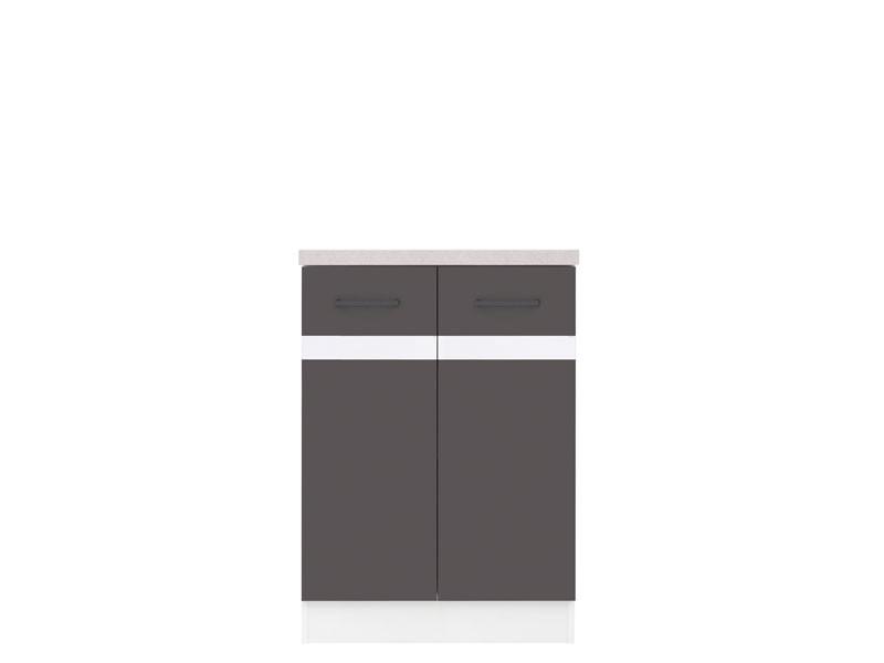 Dolní kuchyňská skříňka - BRW - Junona line - D2D/60/82 (Šedý wolfrám + Lesk bílý)