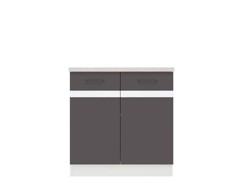 Spodní kuchyňská skříňka - BRW - Junona line - D2D/80/82 (Šedý wolfrám + Lesk bílý)