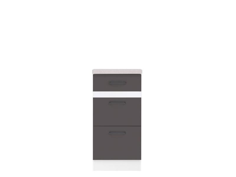 Spodní kuchyňská skříňka - BRW - Junona line - D3S/40/82 (Šedý wolfrám + Lesk bílý)