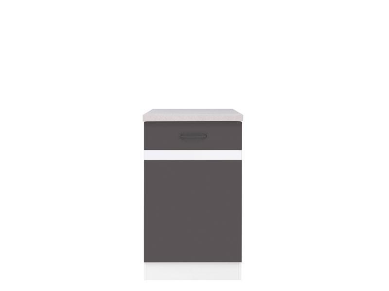 Spodní kuchyňská skříňka - BRW - Junona line - D1D/50/82/L (Šedý wolfrám + Lesk bílý)