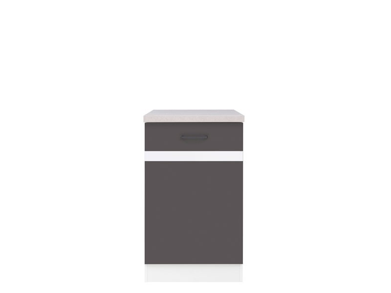 Spodní kuchyňská skříňka - BRW - Junona line - D1D/50/82/P (Šedý wolfrám + Lesk bílý)