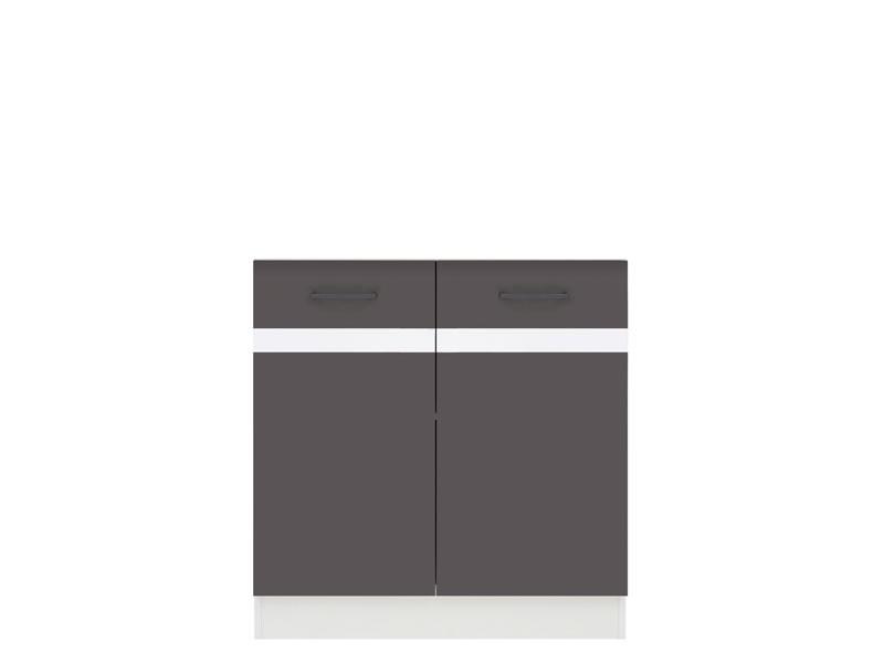 Spodní kuchyňská skříňka pod dřez - BRW - Junona line - DK2D/80/82 (Šedý wolfrám + Lesk bílý)