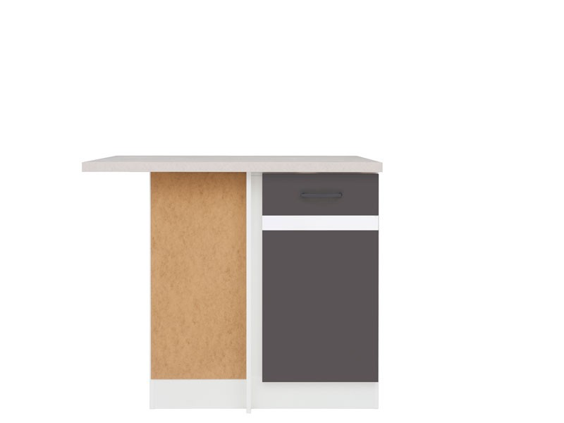 Spodní kuchyňská skříňka, rohová - BRW - Junona line - DNW/100/82/L (Šedý wolfrám + Lesk bílý)