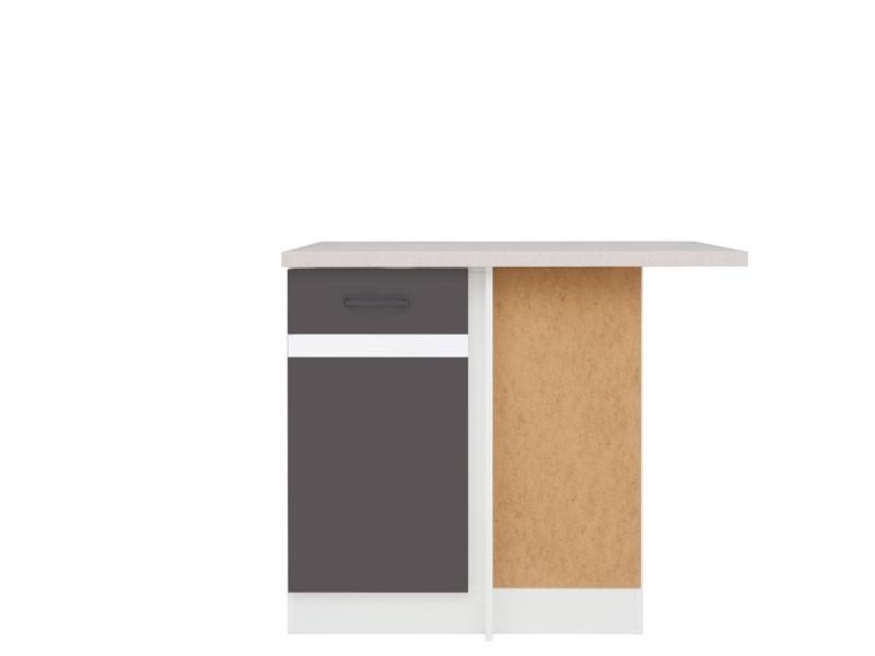 Spodní kuchyňská skříňka, rohová - BRW - Junona line - DNW/100/82/p (Šedý wolfrám + Lesk bílý)