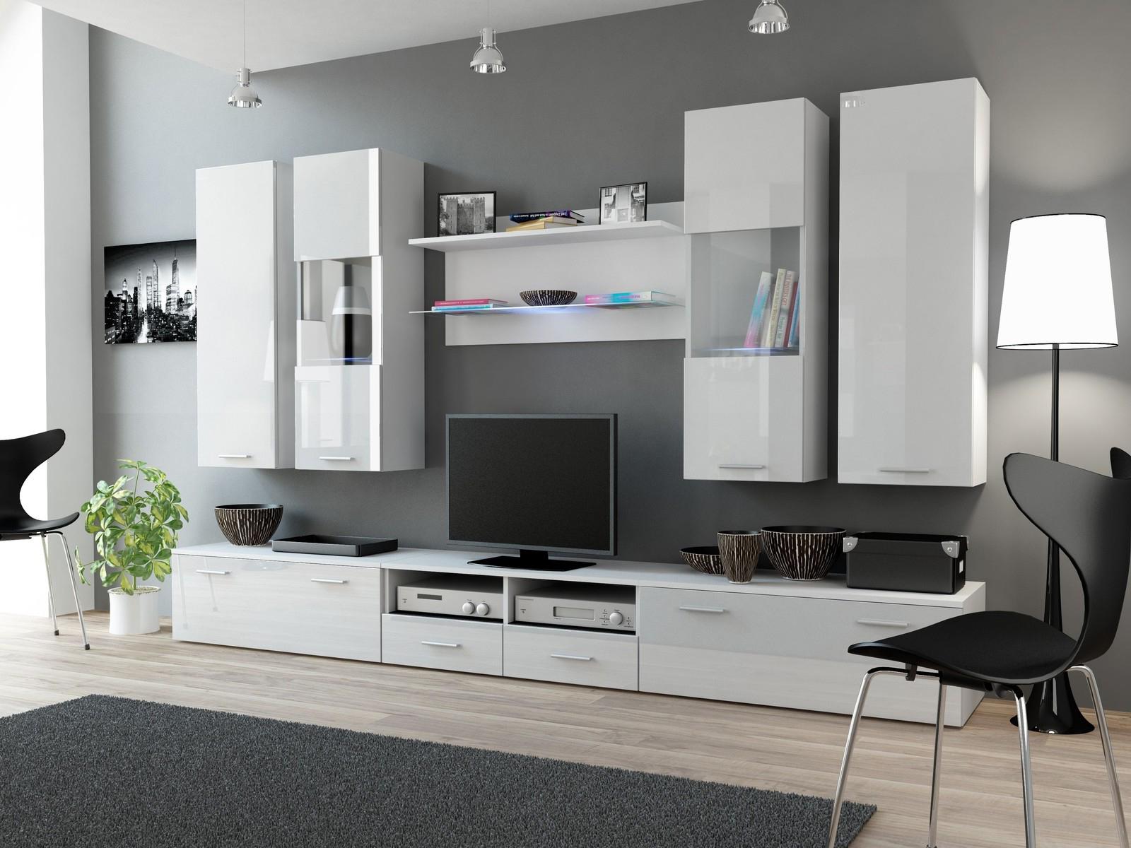 Obývací stěna - BRW - Dream II bílá + lesk (s osvětlením)