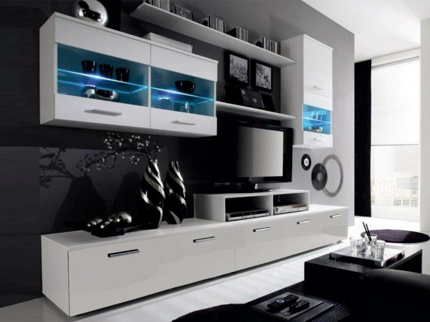 Obývací stěna - BRW - Logo II bílá + lesk (s osvětlením)