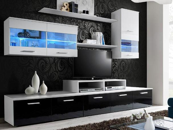 Obývací stěna - BRW - Logo II bílá + lesk černý (s osvětlením)