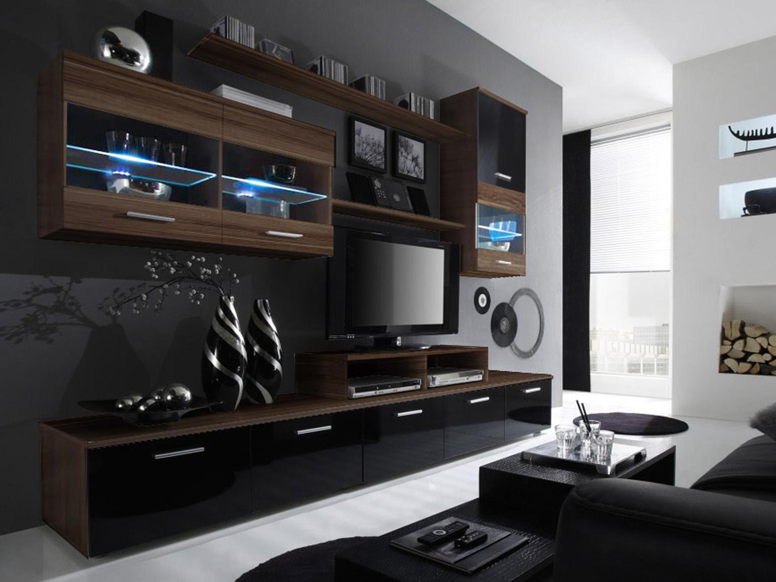 Obývací stěna - BRW - Logo II švestka + lesk černý (s osvětlením)