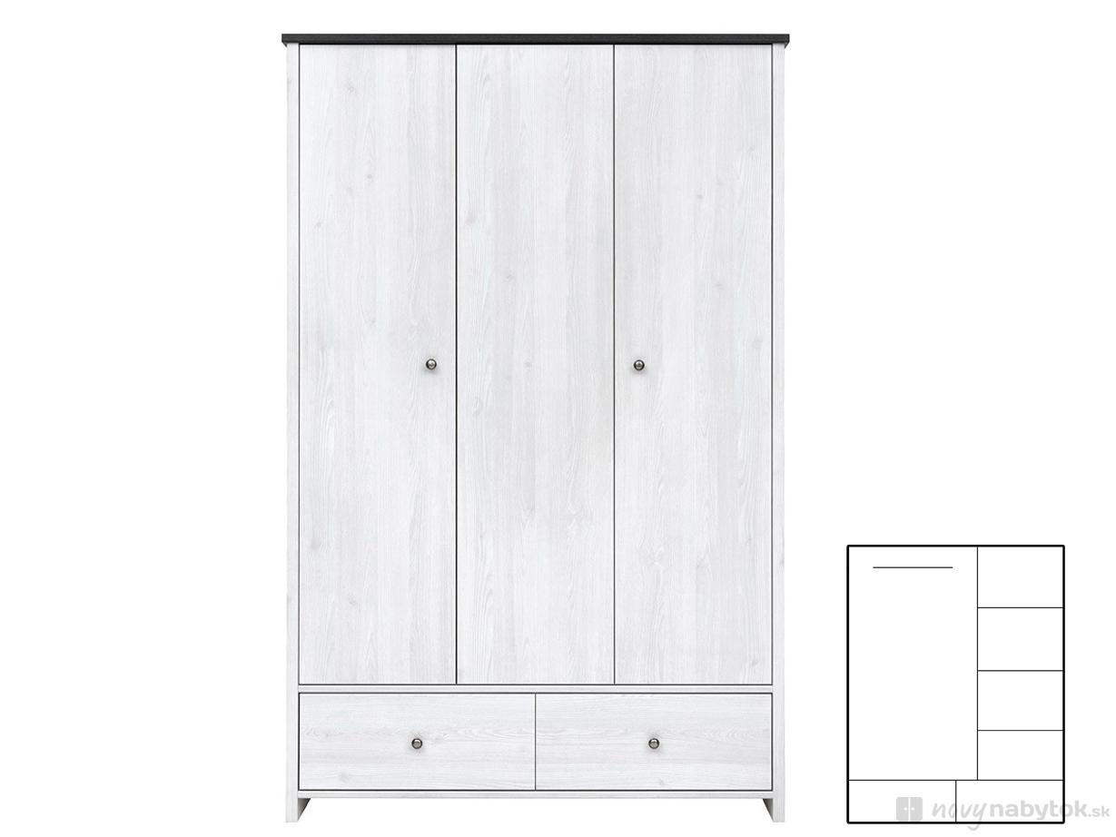 Šatní skříň - BRW - Porto - SZF3D2S