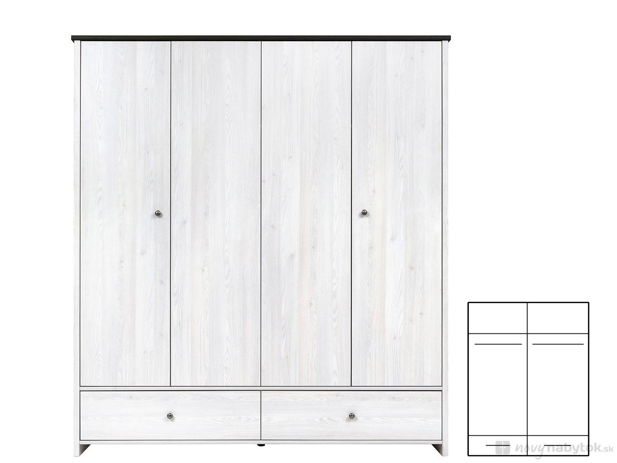 Šatní skříň - BRW - Porto - SZF4D2S