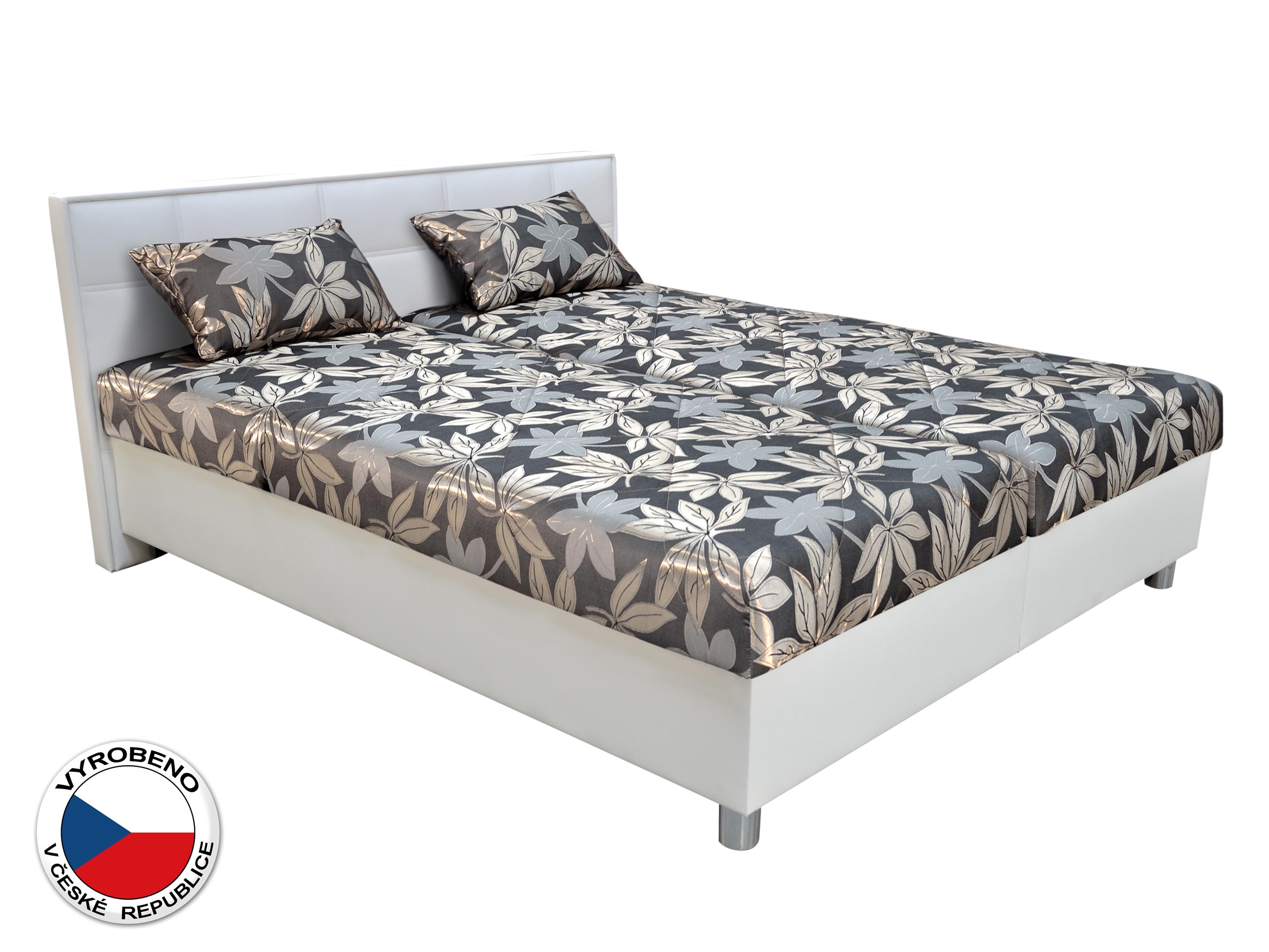 Manželská postel 160 cm - Blanář - Belfast (šedá + bílá) (s rošty a matracemi)