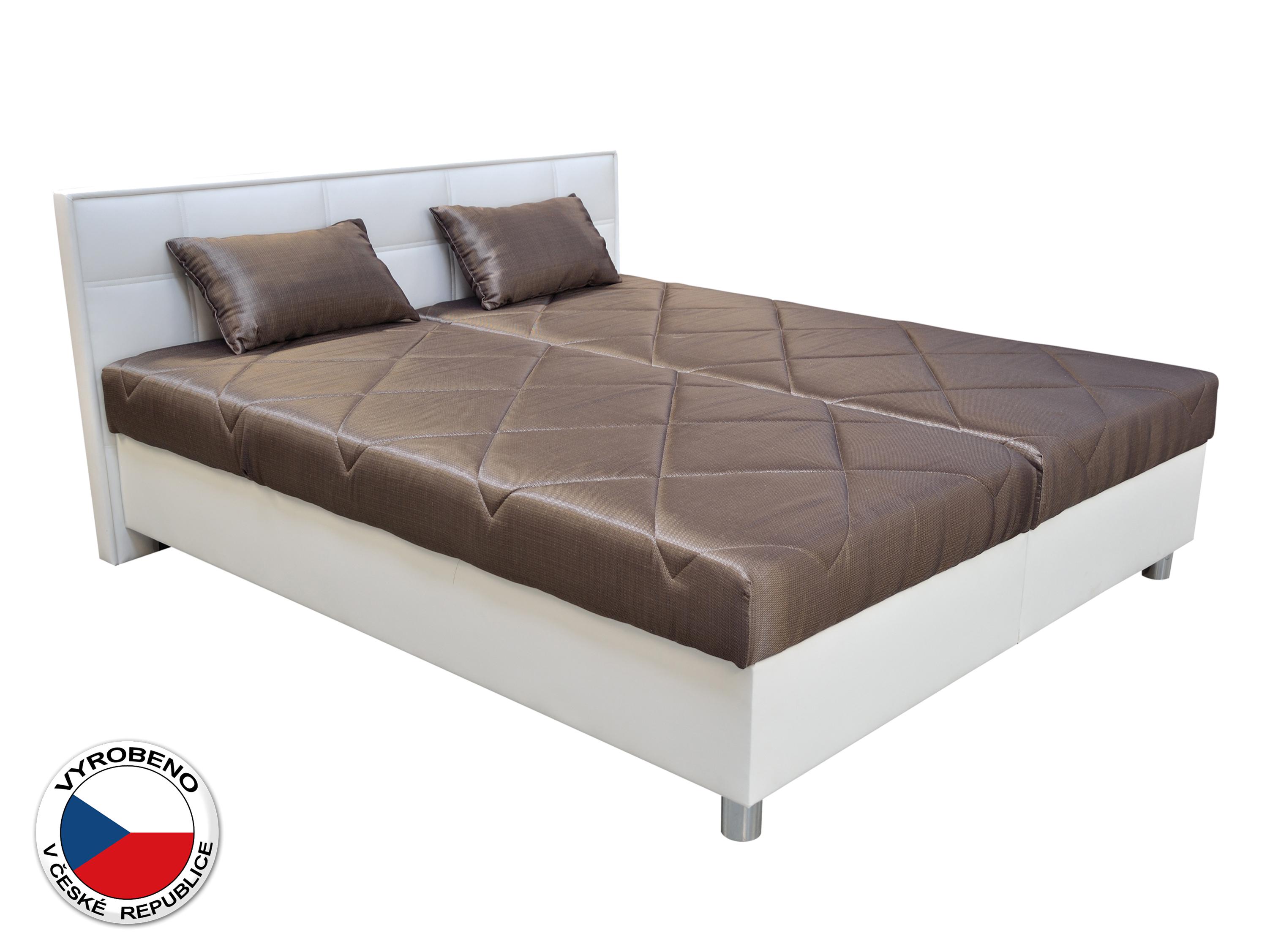 Manželská postel 160 cm - Blanář - Belfast (hnědá + bílá) (s rošty a matracemi)