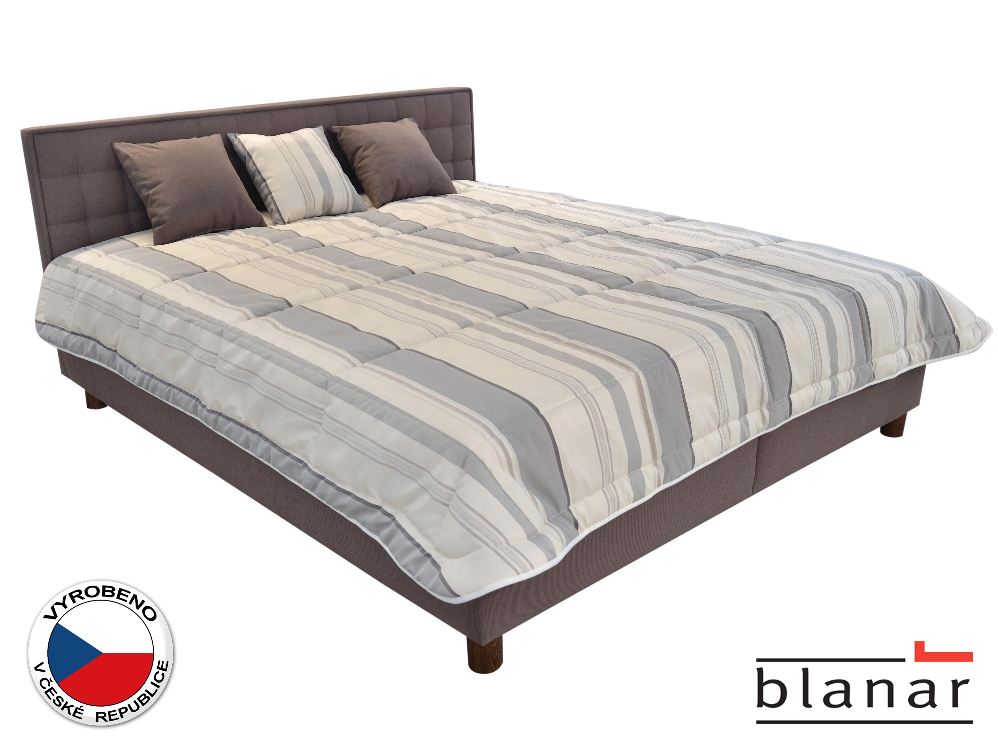 Manželská postel 160 cm - Blanár - Bobby (s roštem a matracemi) (bílá + šedá)
