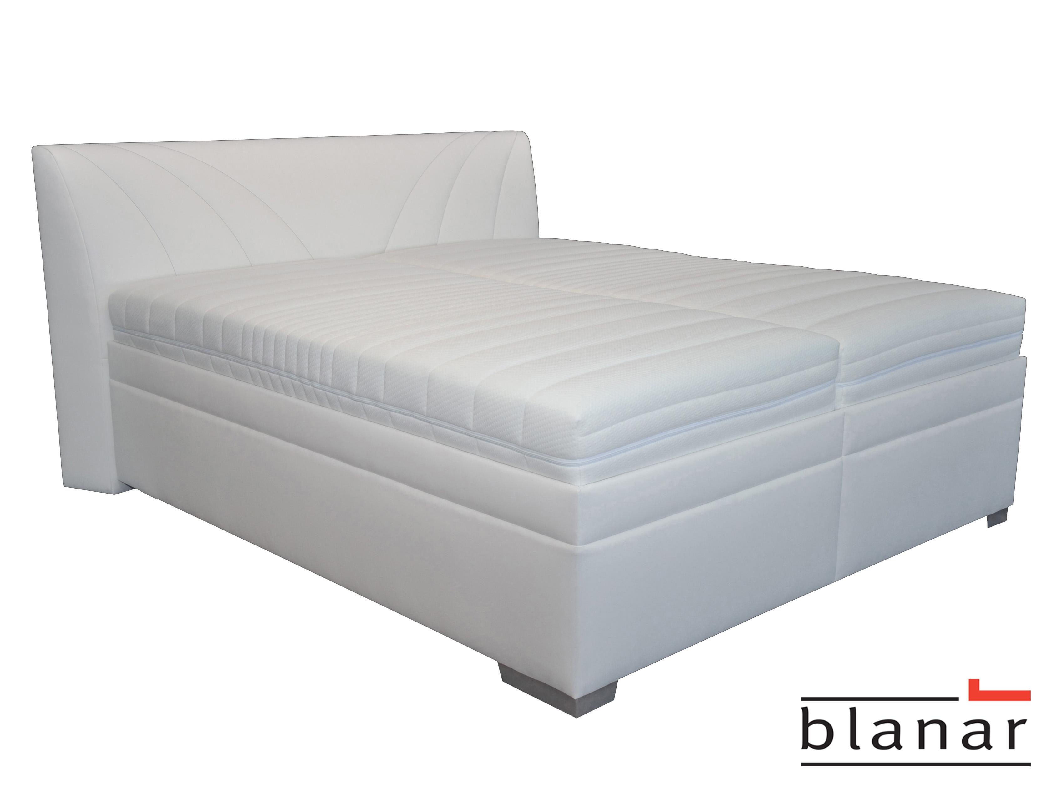Manželská postel 180 cm - Blanár - Velvet (s roštem a matracemi) (bílá)