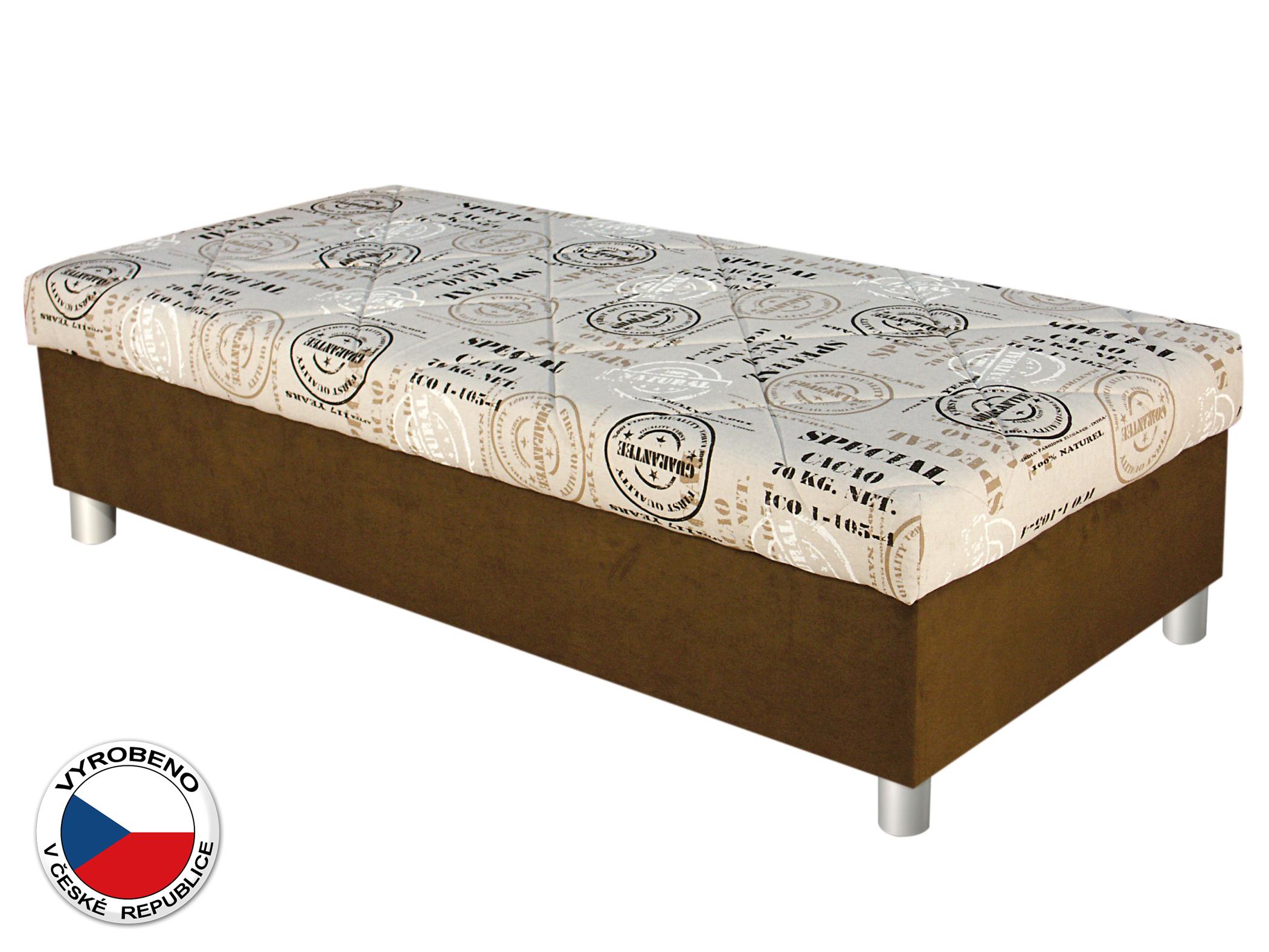 Jednolůžková postel (válenda) 90 cm - Blanář - Inez (béžová + hnědá) (s roštem a matrací)