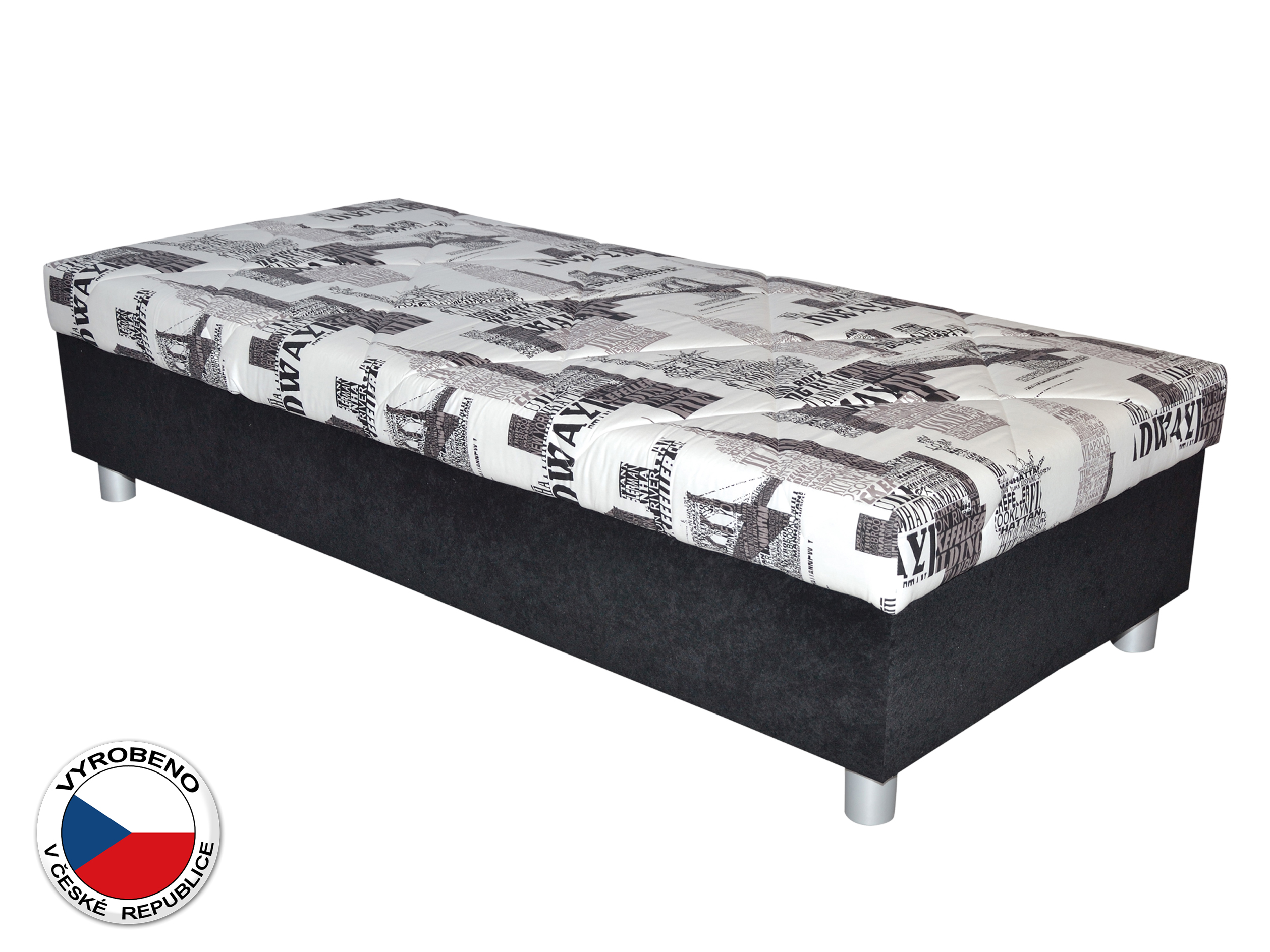 Jednolůžková postel (válenda) 90 cm - Blanář - Inez (bílá + černá) (s roštem a matrací)