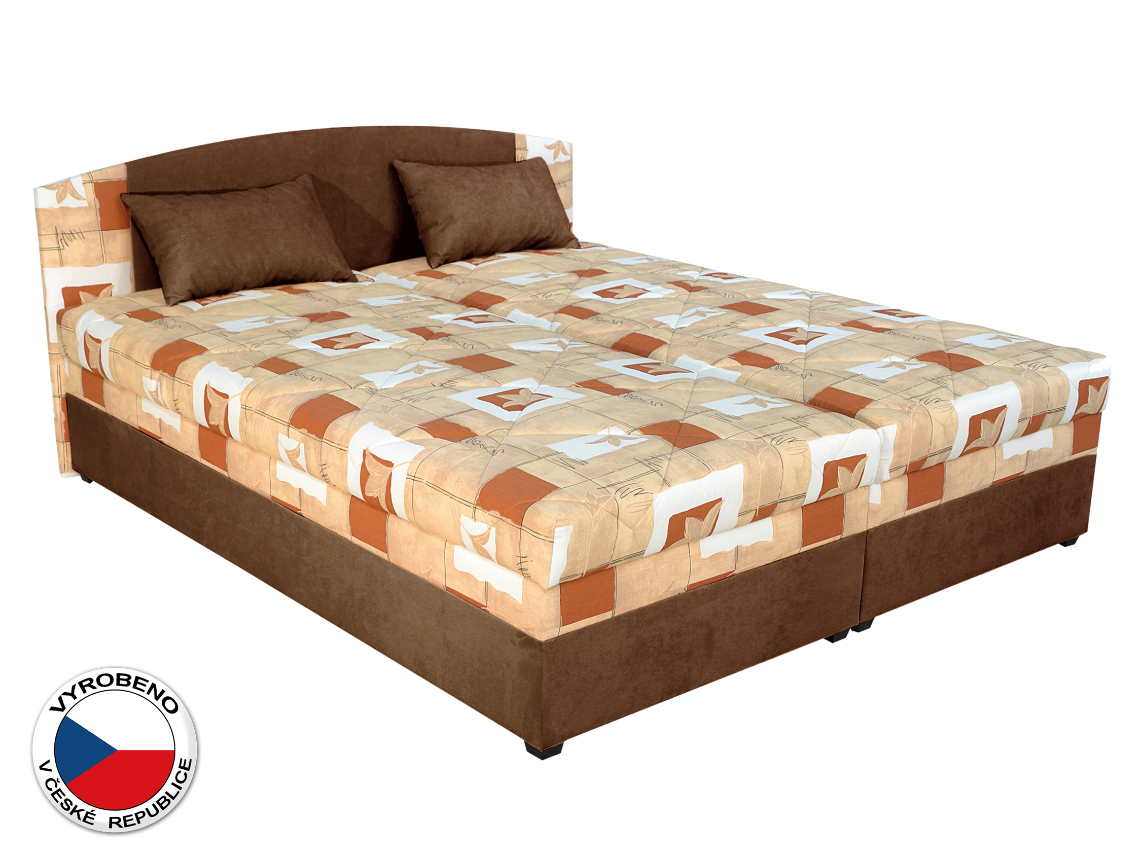 Manželská postel 180 cm - Blanář - Kappa (oranžová + hnědá) (s rošty a matracemi)