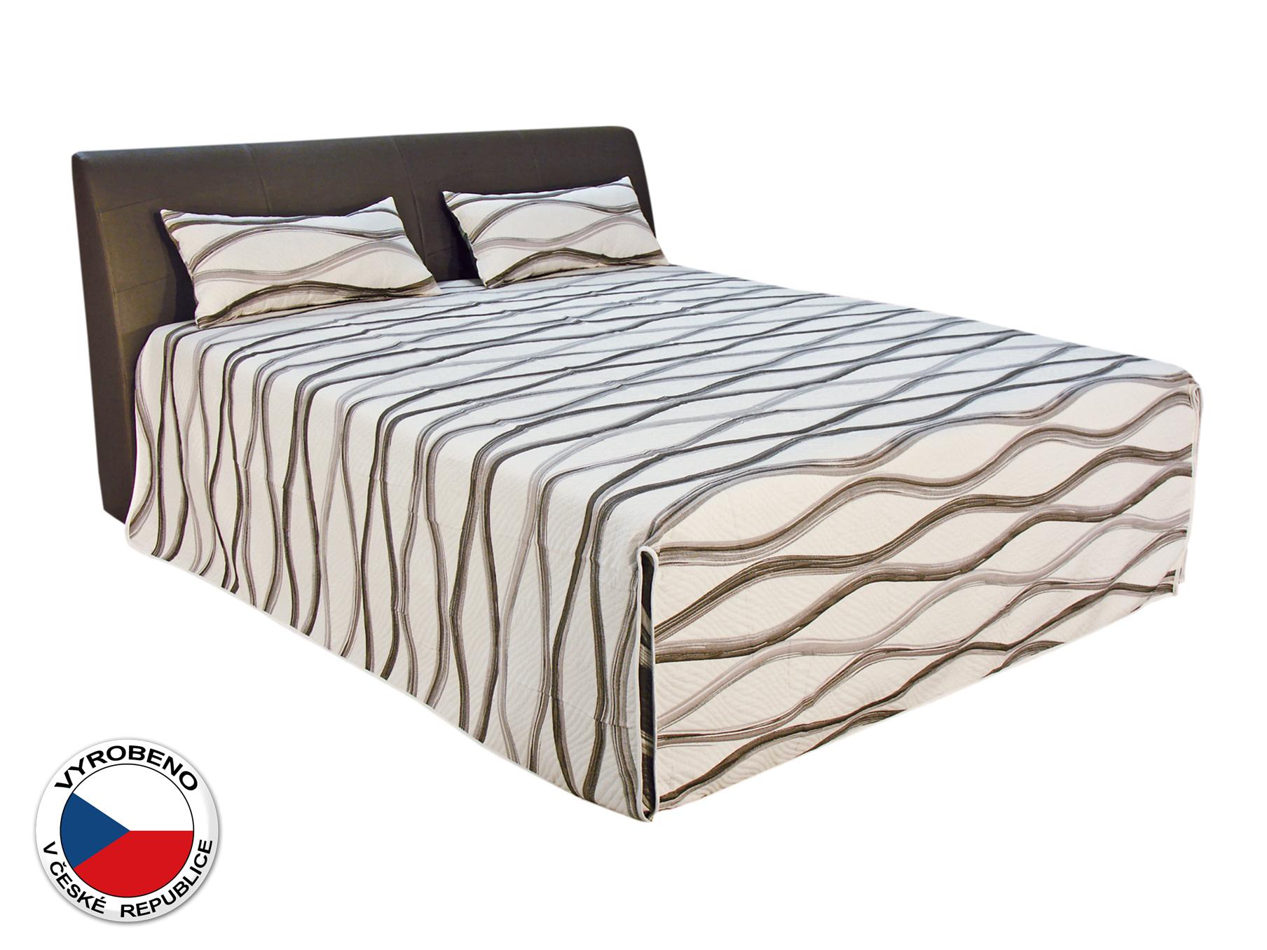 Manželská postel 180 cm - Blanář - Merkur (bílá + hnědá) (s rošty a matracemi Nelly Plus)