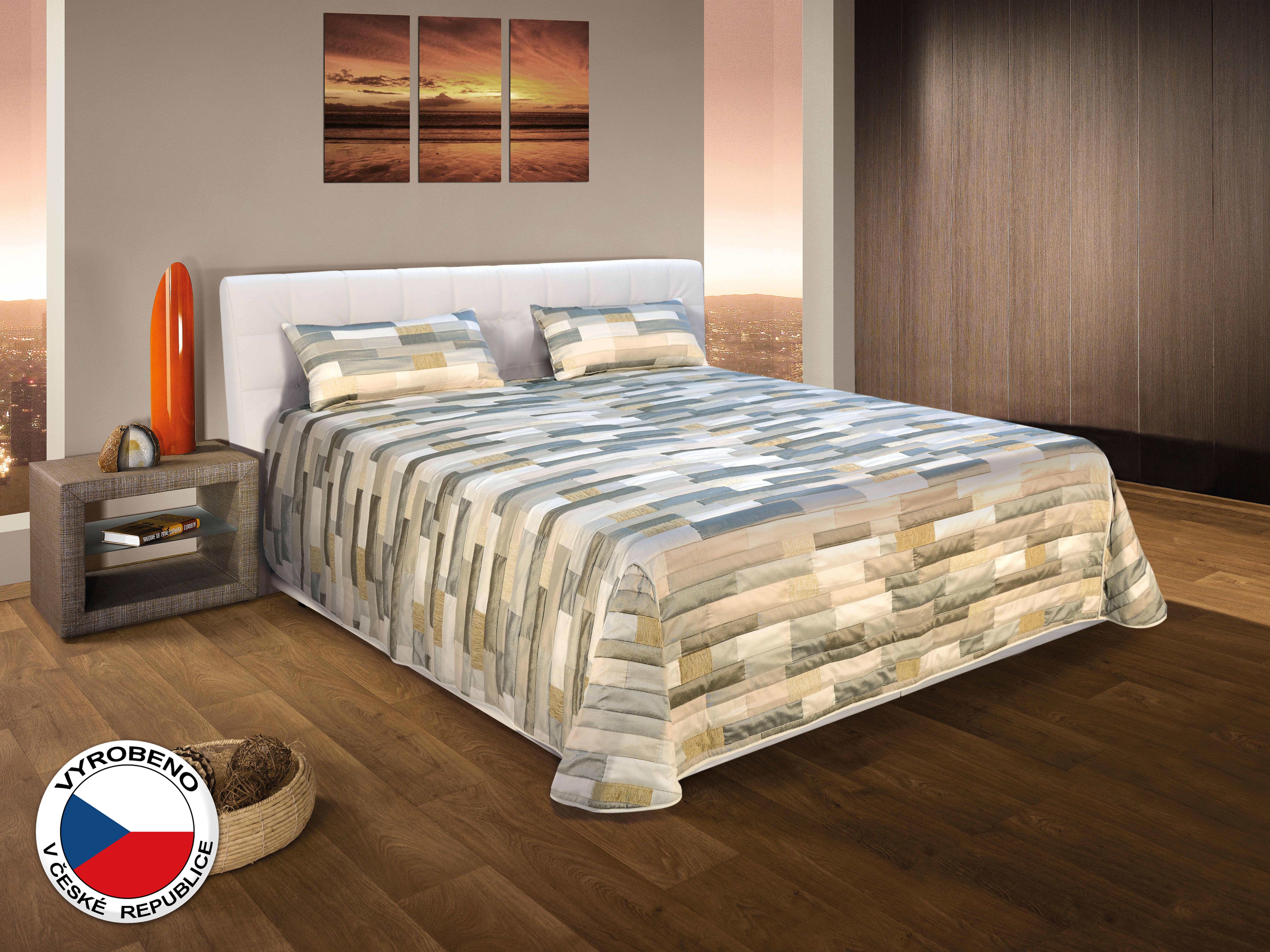 Manželská postel 180 cm - Blanář - Monaco (šedá + bílá) (s rošty a matracemi)