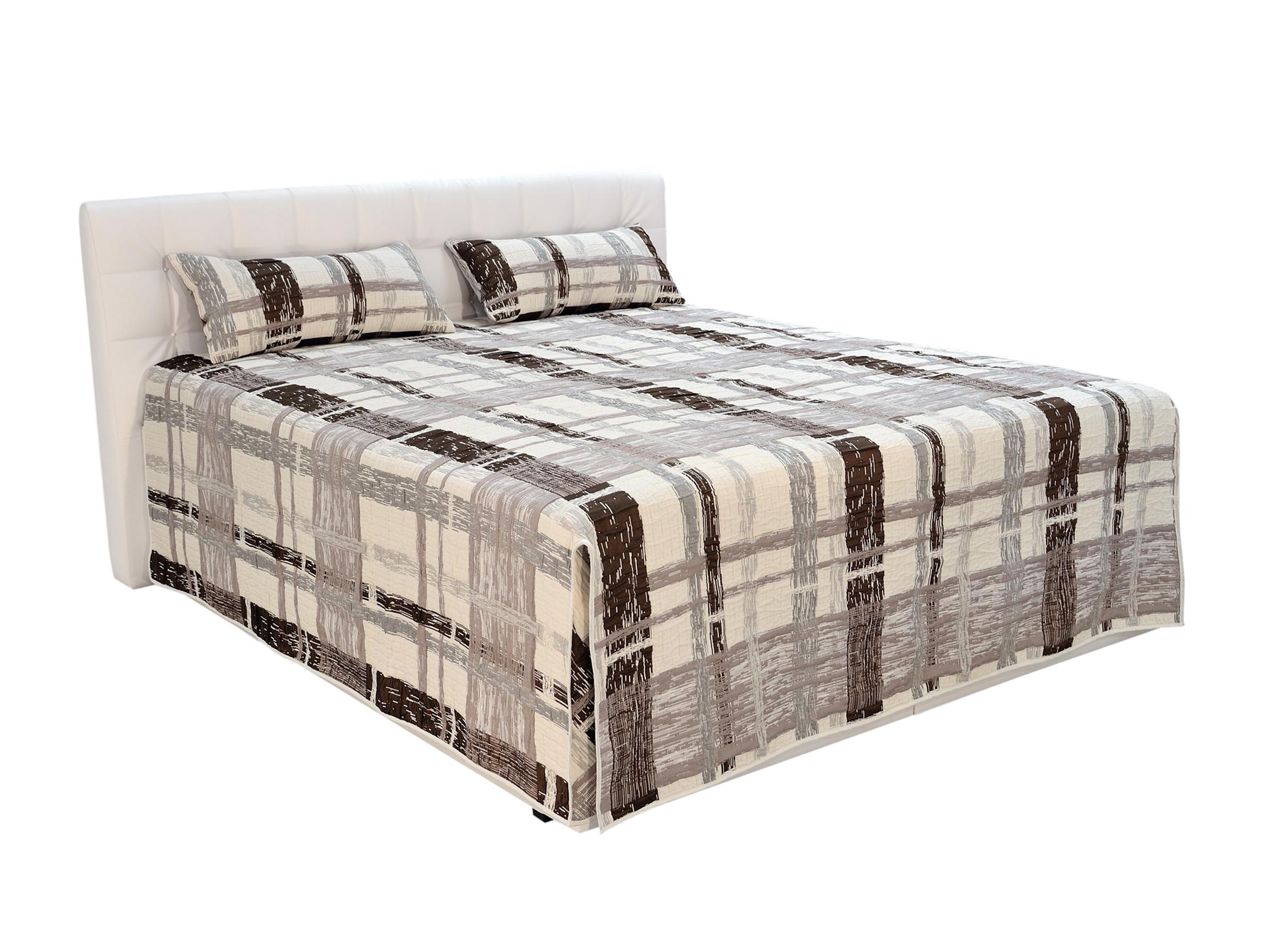Manželská postel 180 cm - Blanář - Monaco (béžová + bílá) (s rošty a matracemi)
