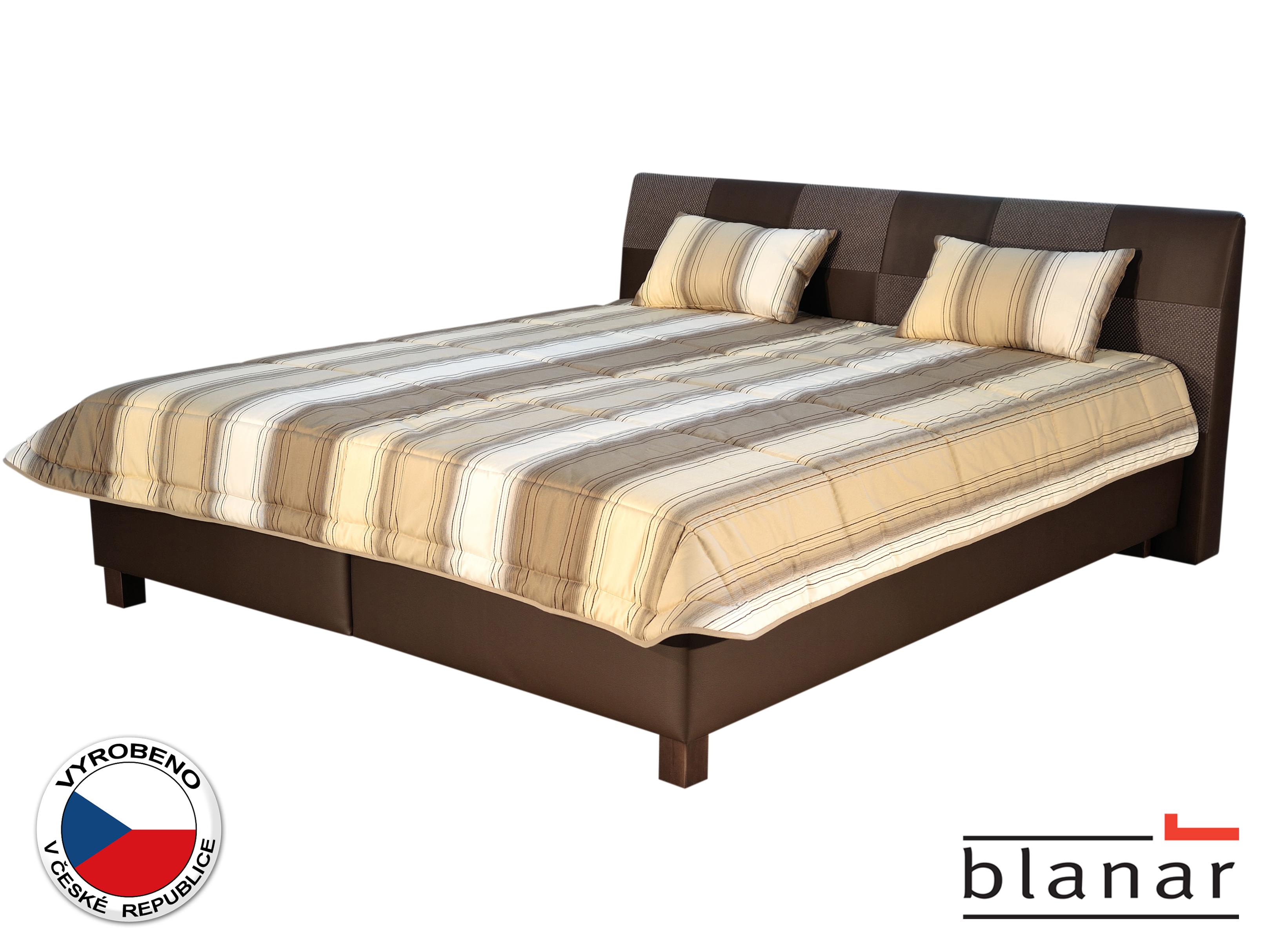 Manželská postel 180 cm - Blanár - Nice (s roštem a matracemi) (béžová + hnědá)