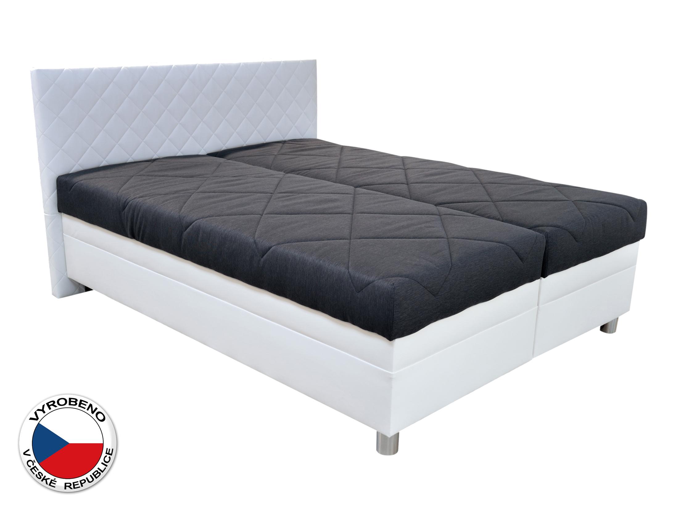 Manželská postel 160 cm - Blanář - Petigo (černá + bílá) (s rošty a matracemi)