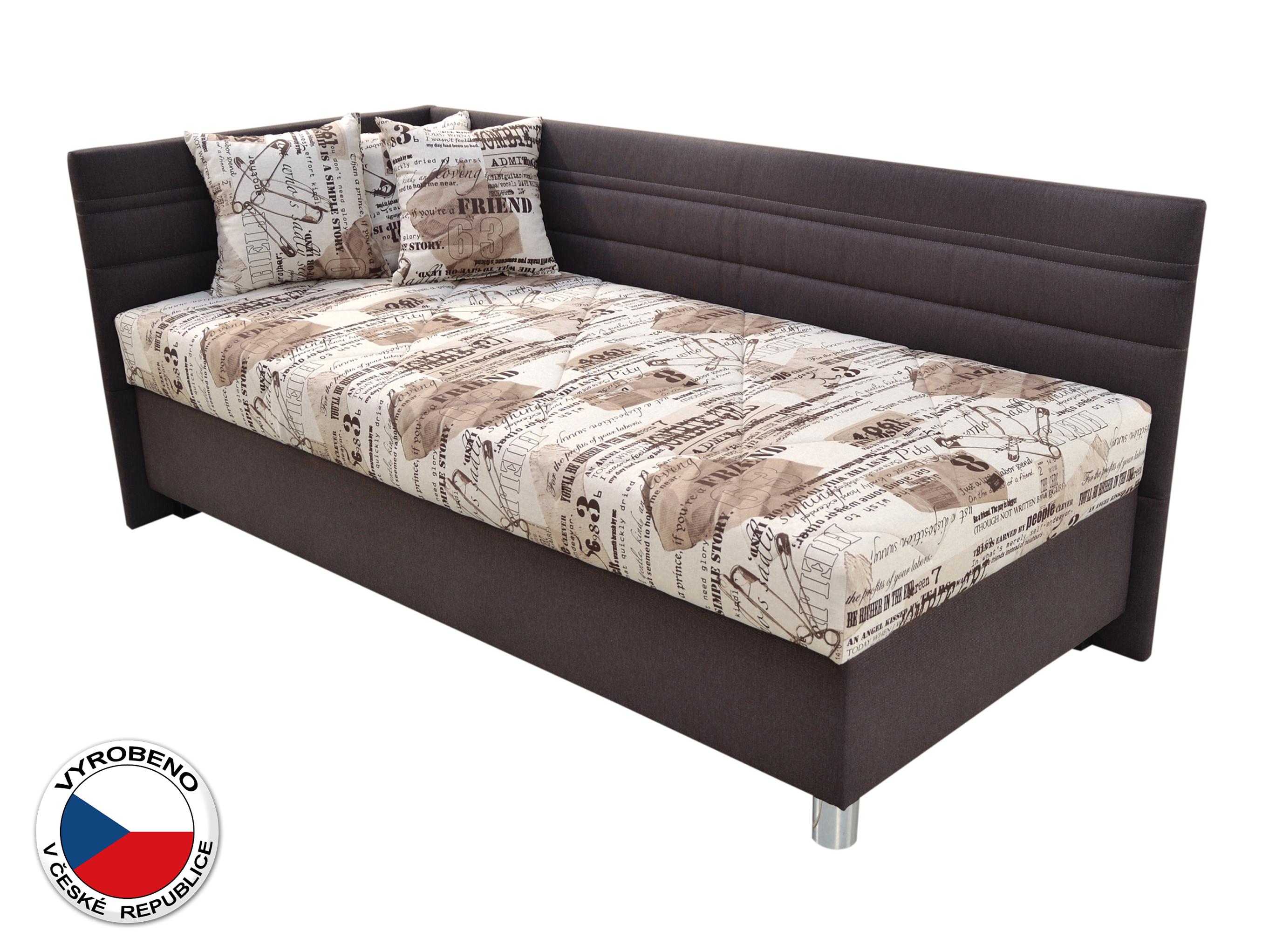 Jednolůžková postel 120 cm - Blanář - Polly (béžová + hnědá) (s roštem a matrací) (L)
