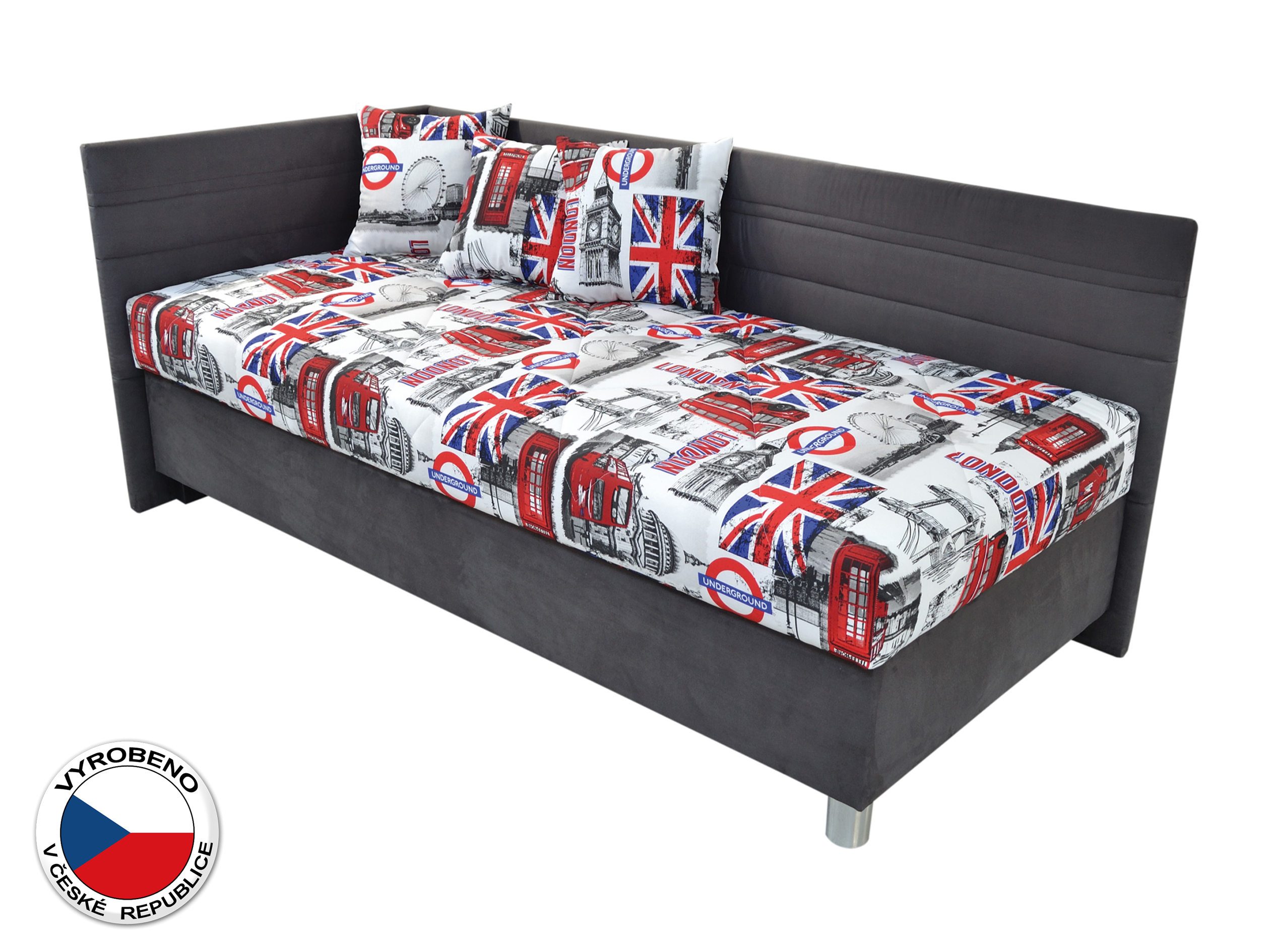 Jednolůžková postel 120 cm - Blanář - Polly (bílá + šedá) (s roštem a matrací) (L)