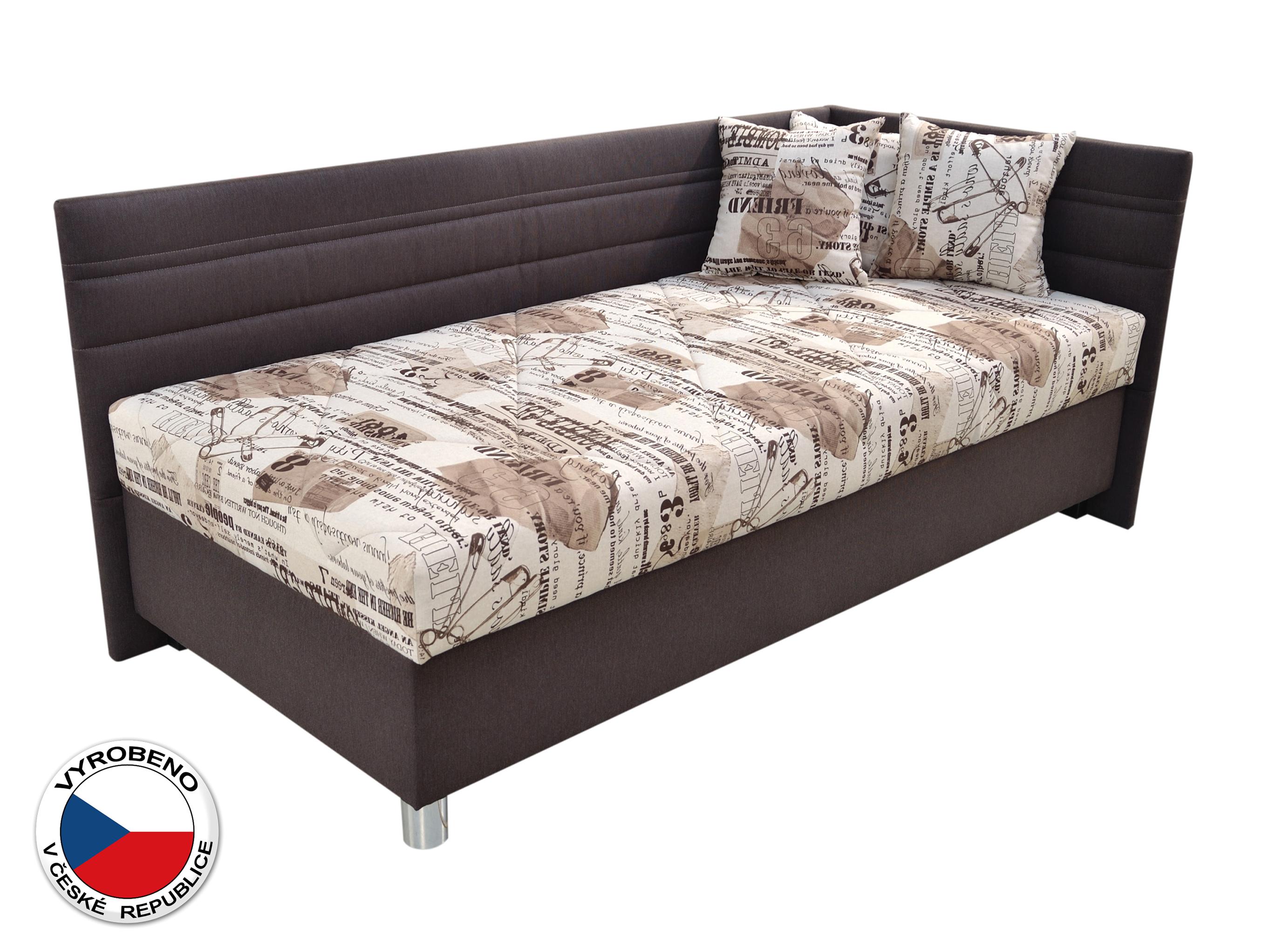Jednolůžková postel 90 cm - Blanář - Polly (béžová + hnědá) (s roštem a matrací) (P)