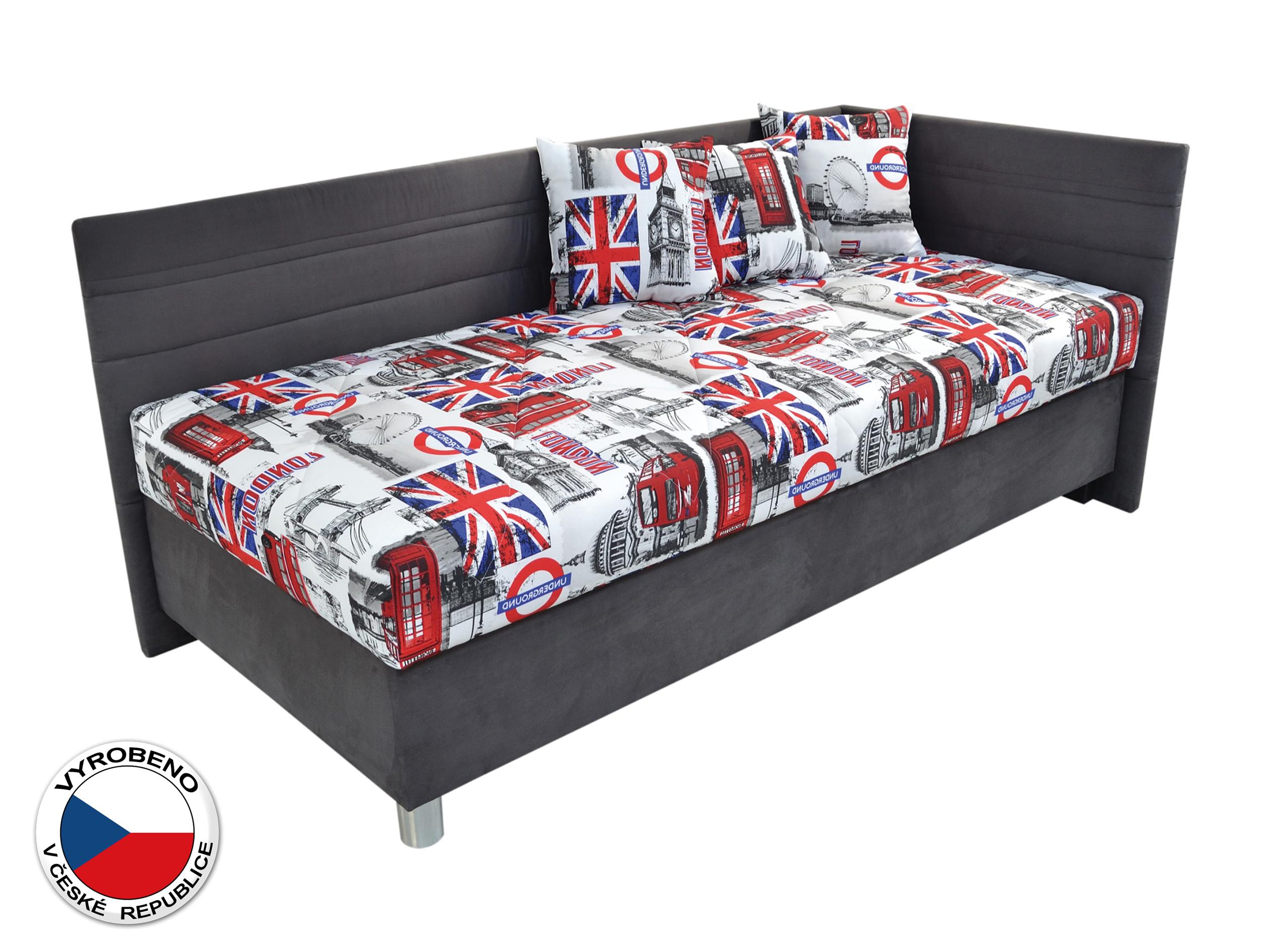 Jednolůžková postel 90 cm - Blanář - Polly (bílá + šedá) (s roštem a matrací) (P)