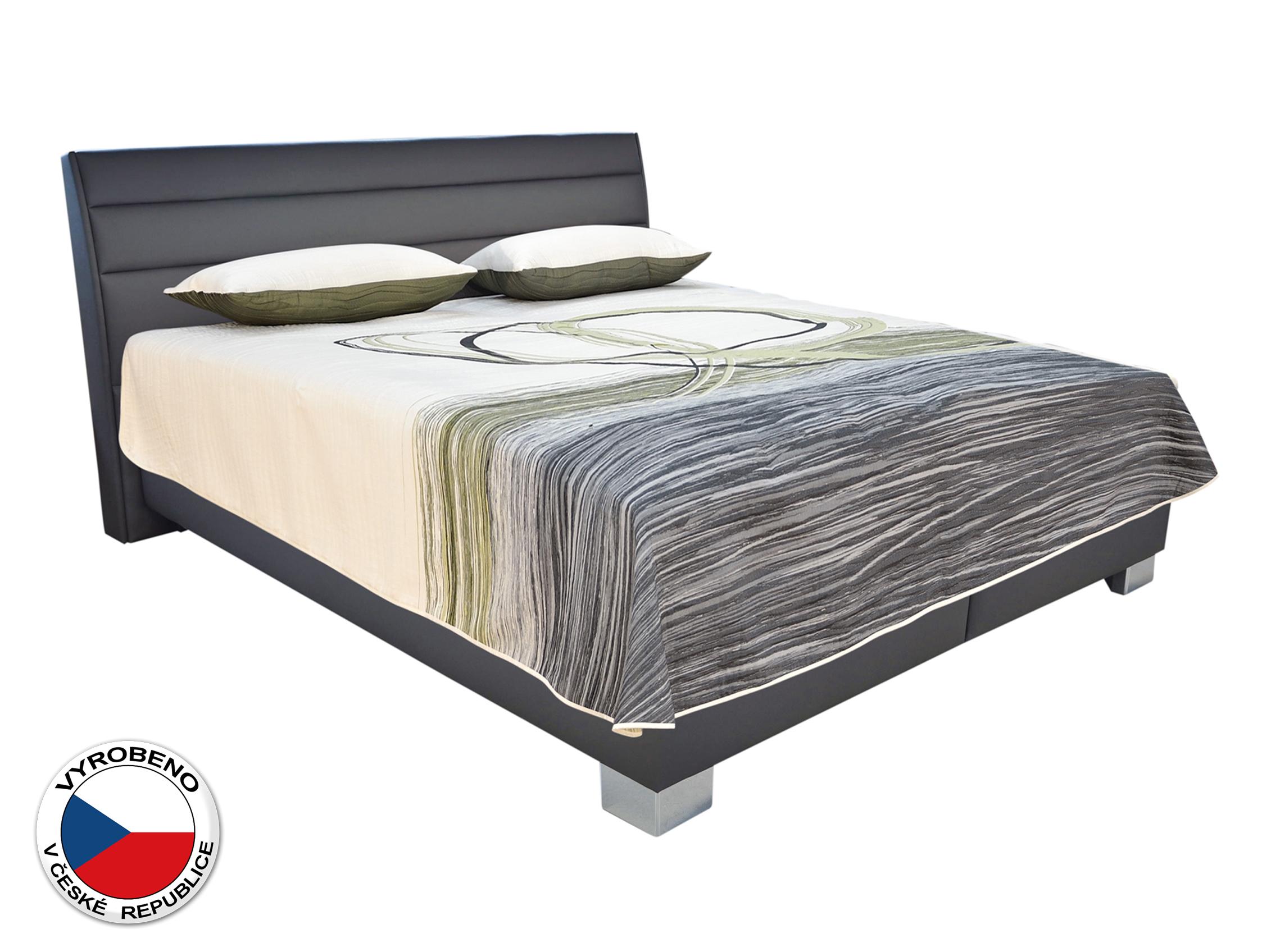 Manželská postel 180 cm - Blanář - Vernon (bílá + šedá) (s rošty a matracemi Nelly)