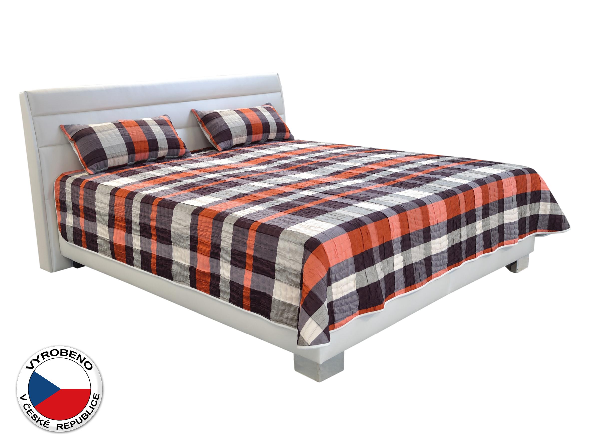 Manželská postel 180 cm - Blanář - Vernon (oranžová + bílá) (s rošty a matracemi Nelly)