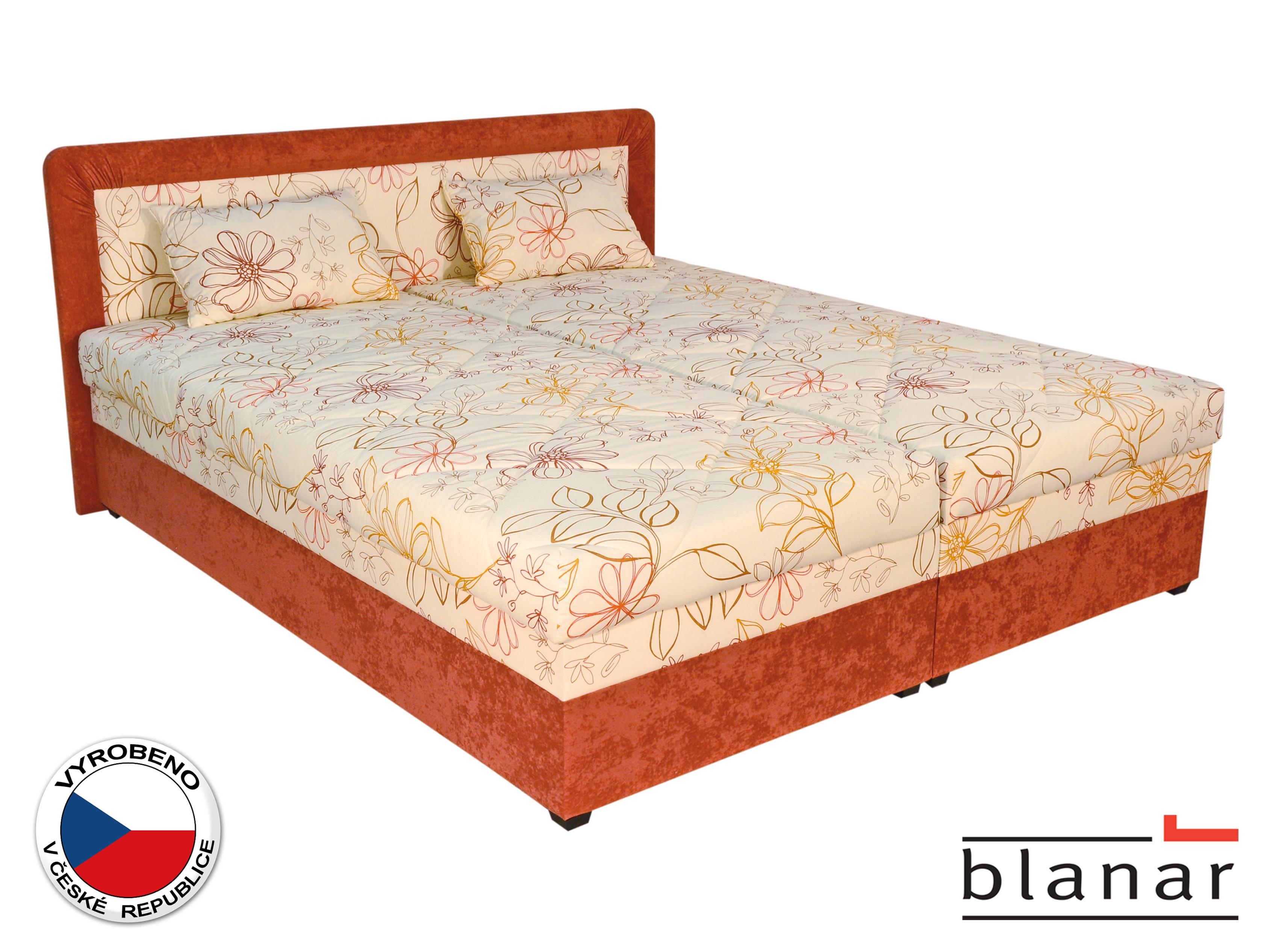 Manželská postel 180 cm - Blanár - Bologna (s roštem a matracemi) (béžová + oranžová)