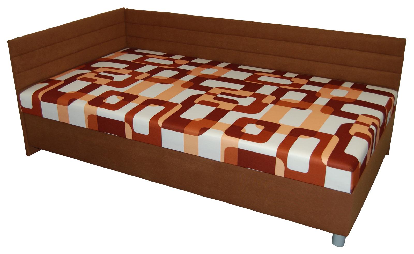 Jednolůžková postel (válenda) 110 cm - BRW - Elize hnědá (L) (s roštem a matrací)