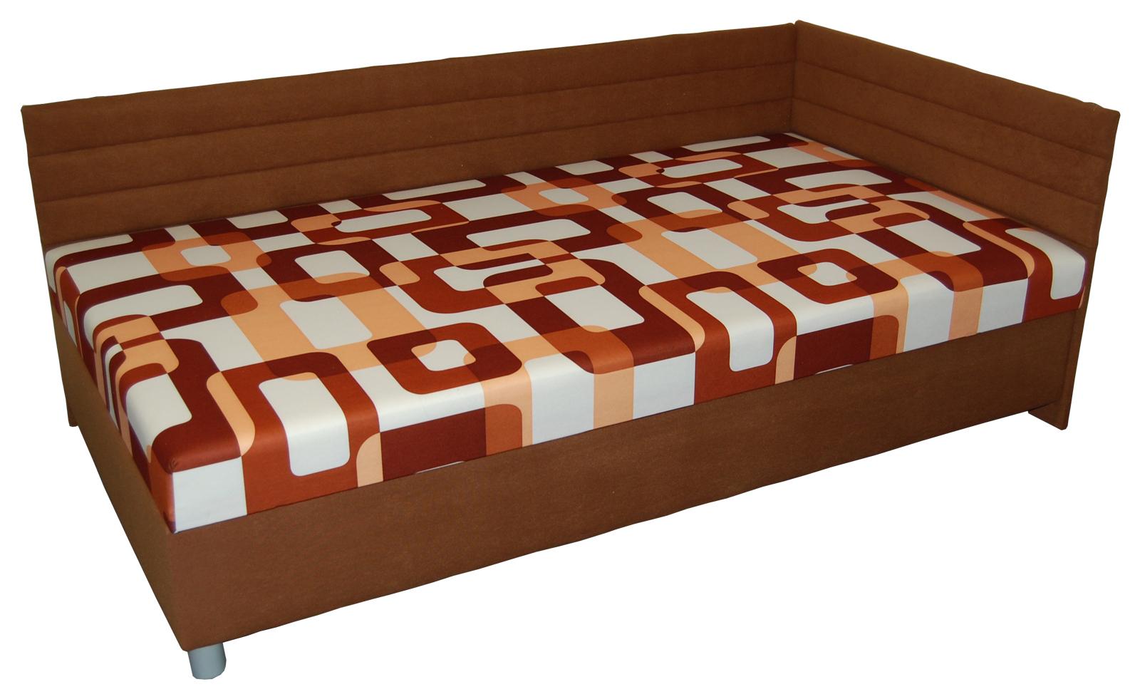 Jednolůžková postel (válenda) 110 cm - BRW - Elize hnědá (P) (s roštem a matrací)