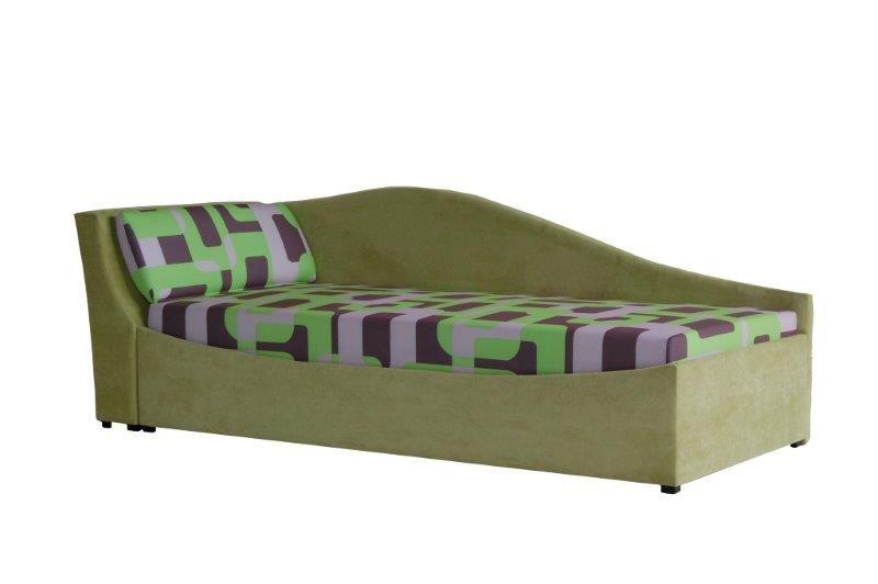 Jednolůžková postel (válenda) 90 cm - BRW - Boston zelená (L) (s roštem a matrací)