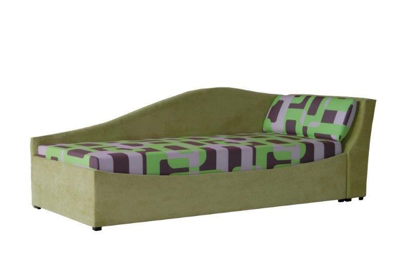 Jednolůžková postel (válenda) 90 cm - BRW - Boston zelená (P) (s roštem a matrací)