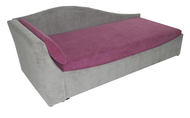 Jednolůžková postel (válenda) 90 cm - BRW - Boston šedá + fialová (L) (s roštem a matrací)