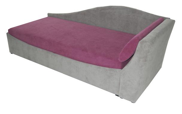 Jednolůžková postel (válenda) 90 cm - BRW - Boston šedá + fialová (P) (s roštem a matrací)