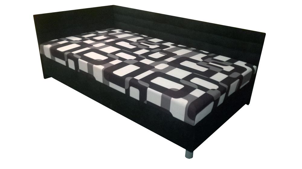 Jednolůžková postel (válenda) 110 cm - BRW - Elize černá (L) (s roštem a matrací)