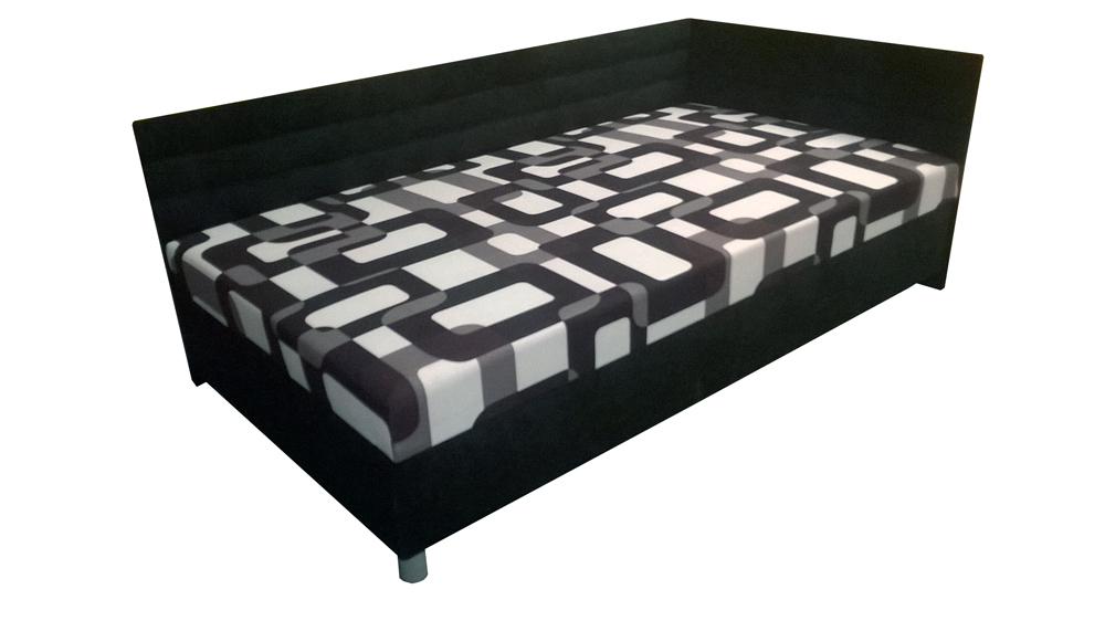Jednolůžková postel (válenda) 110 cm - BRW - Elize černá (P) (s roštem a matrací)