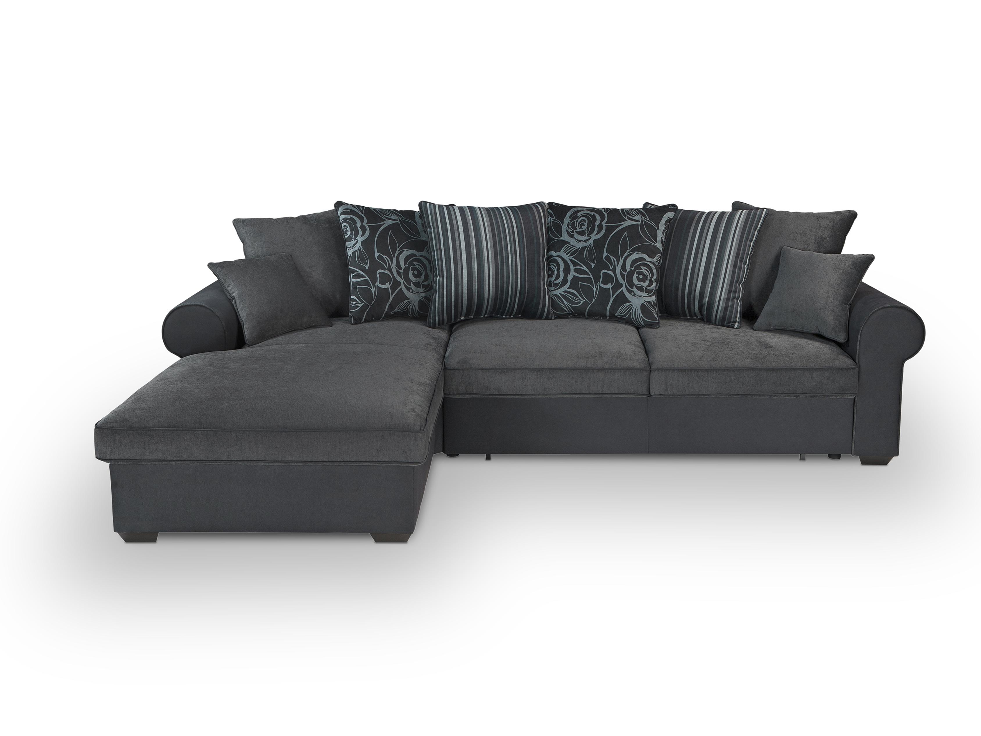 Rohová sedací souprava - BRW - Canyon Lux 3DL.REC (tmavě šedá + černá) (L)